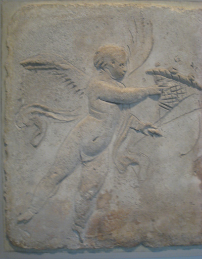 The archetypal putto, shown here on Greek stone reliefs